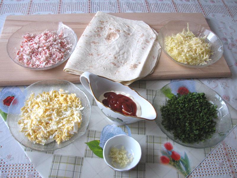 Закуски из лаваша с крабовыми палочками рецепты